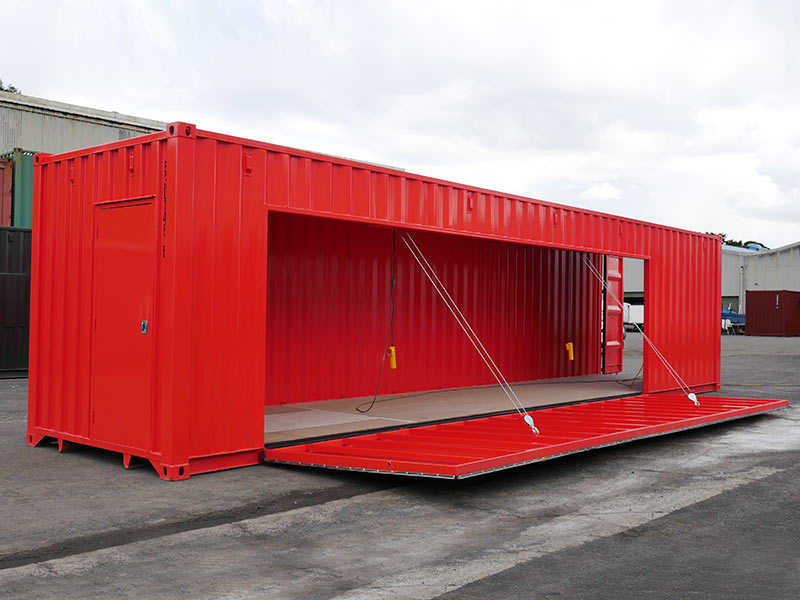 Container with Drop Down Deck